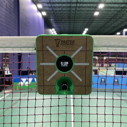 Faster Footwork Trainer hanging on badminton net